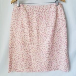 Ann Taylor Pink Skirt Knee Length Lined Silk Linen